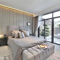 别墅样板房现代卧室阳台设计效果图