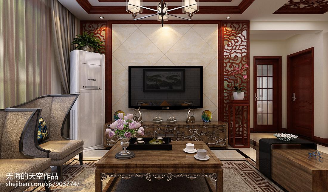 玉石雕刻影视墙效果图_中式客厅影视墙效果图汇总 – 设计本装修效果图