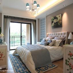 中式样板房卧室阳台装修效果图