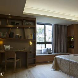 简约中式风格卧室书柜装修设计