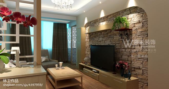 田园客厅电视背景墙设计效果图欣赏