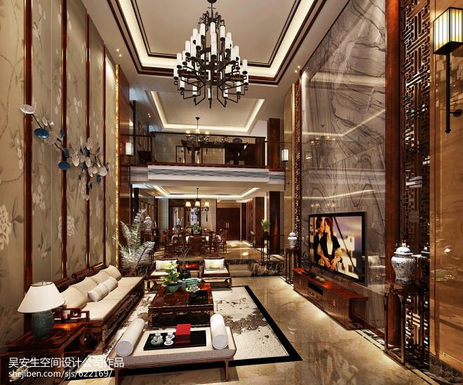 美式古典别墅客厅装修设计图片