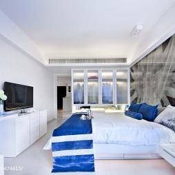 蓝色现代卧室背景墙效果图