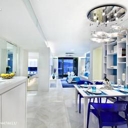 蓝色现代餐厅博古架效果图