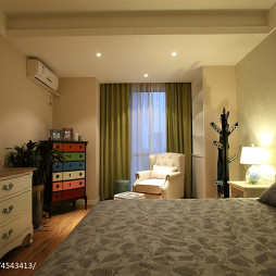 二居美式卧室窗帘设计