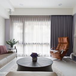 三居现代客厅窗帘装修