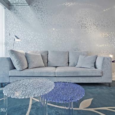 唯美现代客厅背景墙装修设计