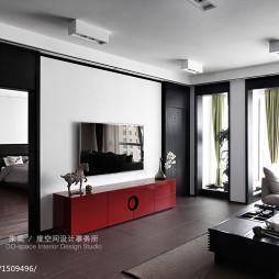 中式风格别墅客厅电视背景墙装修设计