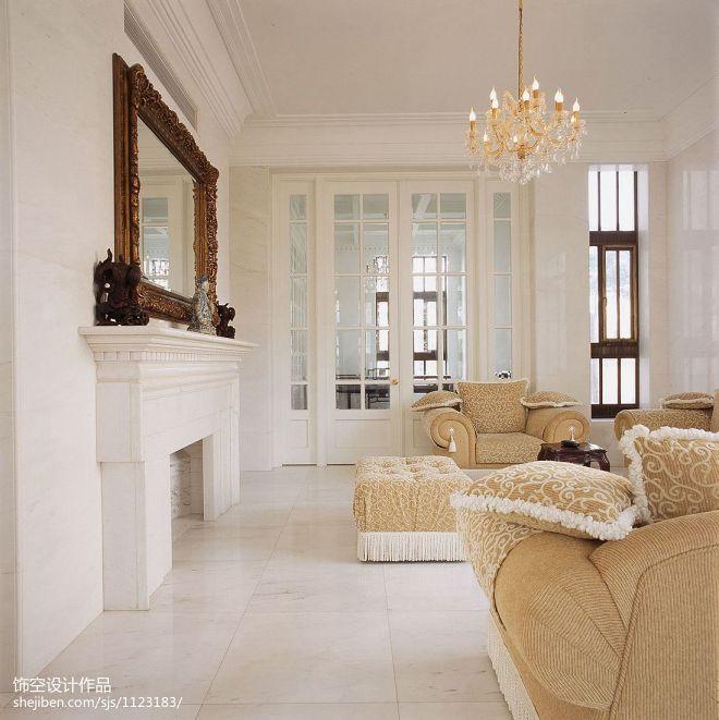现代法式别墅客厅壁炉装修效果图