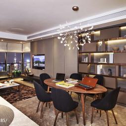 混搭风格公寓餐厅博古架样板房设计