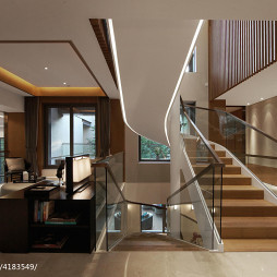 混搭风格别墅楼梯样板房图片