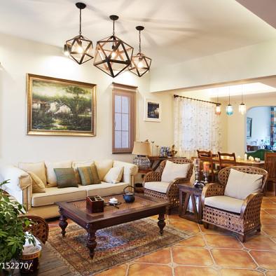 美式和中式混搭客厅装修效果图