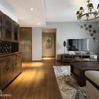 简约中式客厅酒柜样板房设计