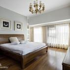 简约中式卧室背景墙样板房设计