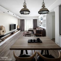 自然混搭风餐厅连客厅一体装修设计