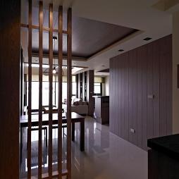 二居室混搭玄关实木隔断效果图