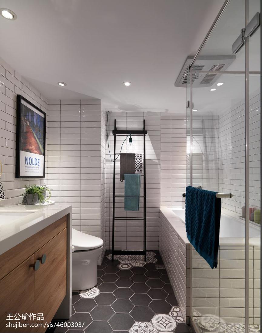 卧室墙面置物架_混搭风格卫生间墙面贴瓷砖效果图 – 设计本装修效果图