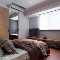 三居室混搭风格卧室推拉门效果图