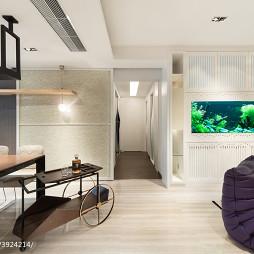 现代客厅挂壁式鱼缸效果图
