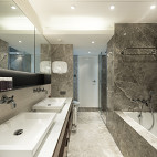 现代卫生间真石漆装修效果图