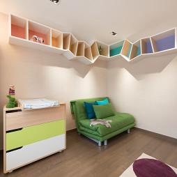 现代儿童房置物架效果图