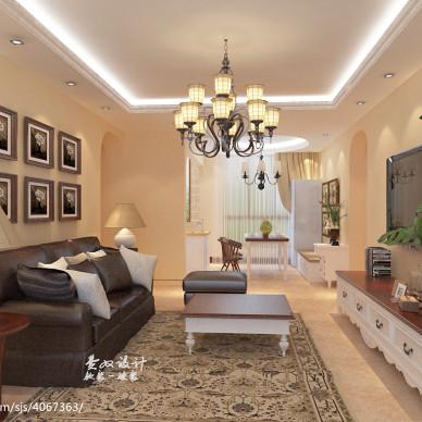 美式客厅顶灯装修效果图