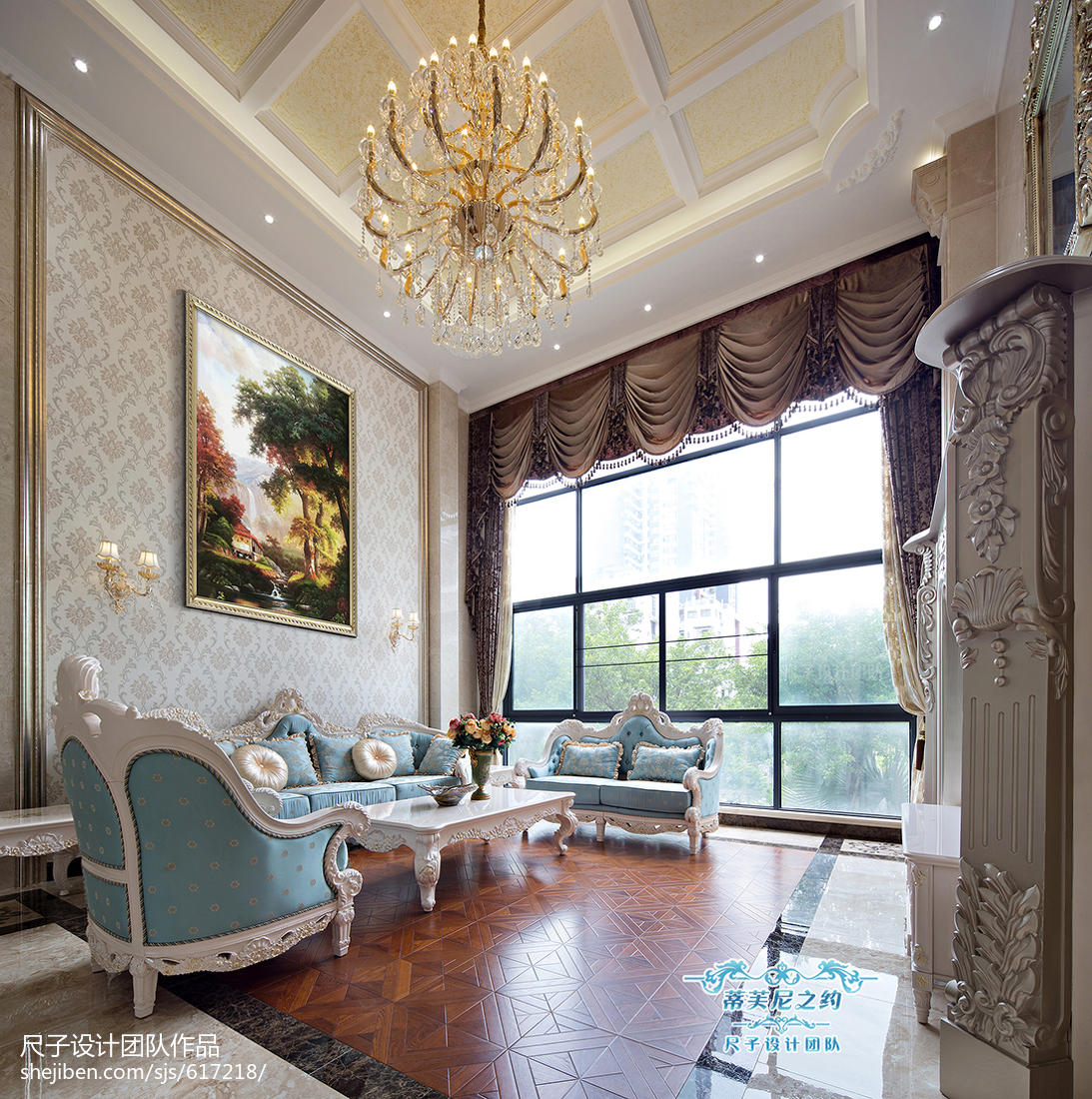 无窗厨房装修效果图_复式楼欧式客厅落地窗装修设计 – 设计本装修效果图