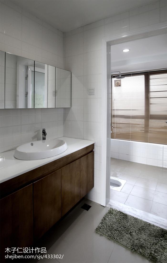 家居壁纸效果图_混搭卫生间浴柜样板间设计 – 设计本装修效果图