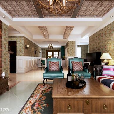 美式背景墙客厅设计图片