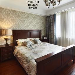 简约美式卧室背景墙效果图大全
