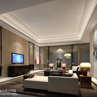 现代客厅摆设效果图