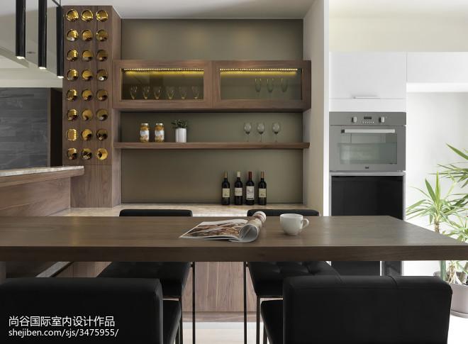 简欧风格餐厅酒柜样板房设计实景图