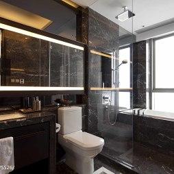混搭卫生间玻璃隔断样板房图