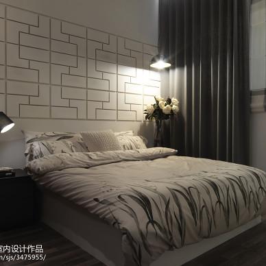 中式卧室背景墙样板间设计实景图