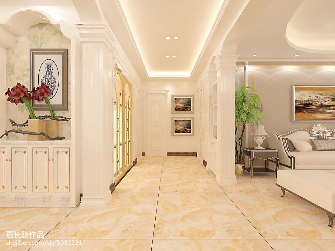 地面瓷砖铺贴方案_欧式走廊地砖铺贴效果图 – 设计本装修效果图
