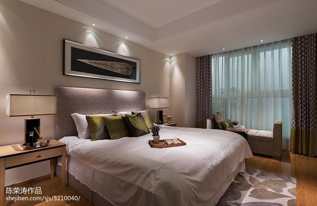现代中式卧室效果�_现代中式卧室窗帘装修图片欣赏–设计本装修效果图