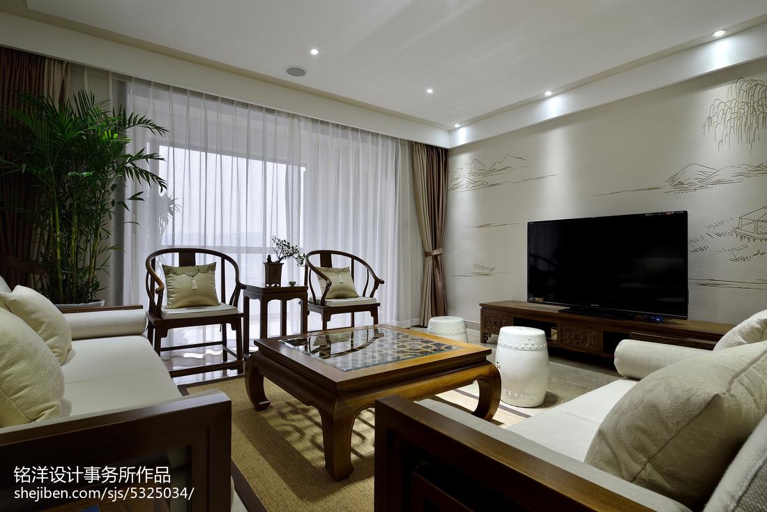 现代中式客厅窗帘效果图