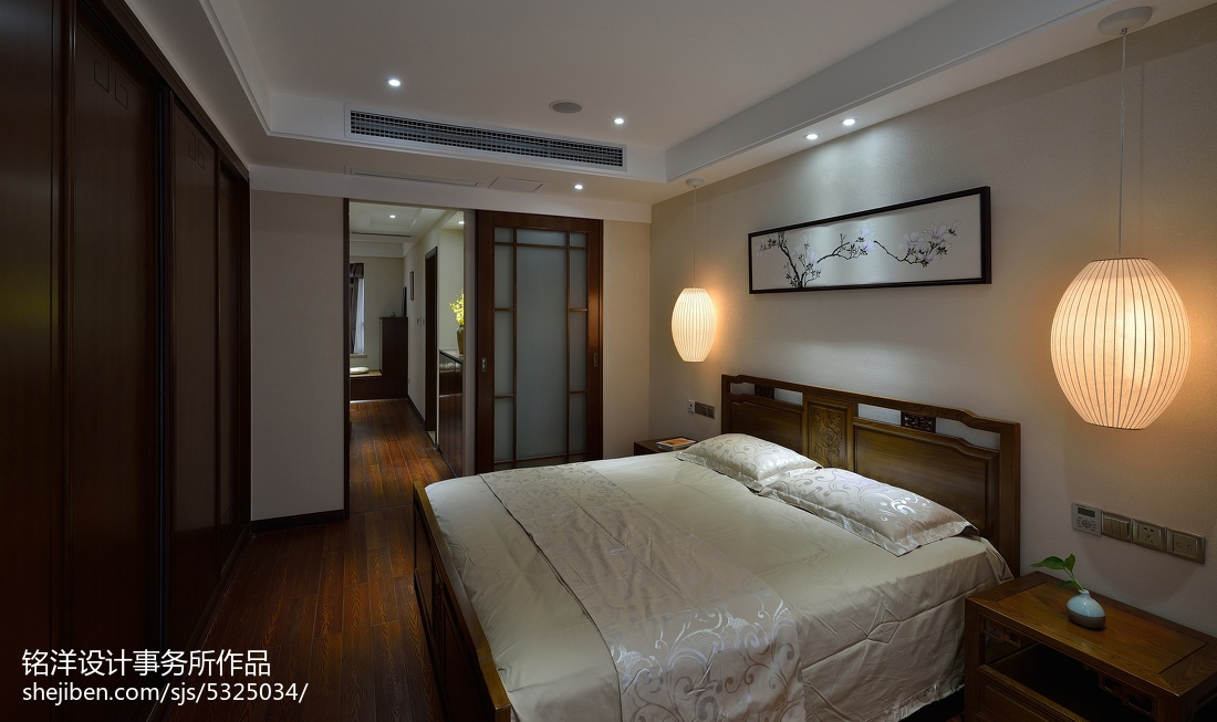 现代中式卧室效果�_现代中式卧室效果图–设计本装修效果图