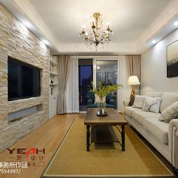 简约美式客厅文化石电视背景墙设计