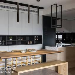 简约现代餐厅厨房一体装修效果图