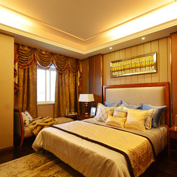 美式卧室窗帘样板房设计