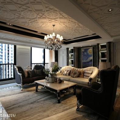 新古典客厅吊顶样板房室内设计