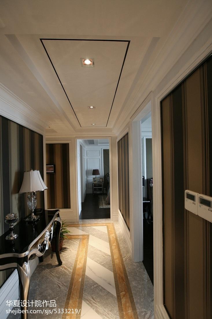家装欧式风格效果图_新古典过道吊顶样板房室内设计 – 设计本装修效果图