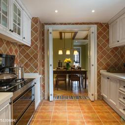 混搭风格厨房墙面贴砖效果图