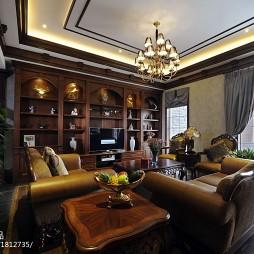 美式别墅休闲区博古架设计效果图