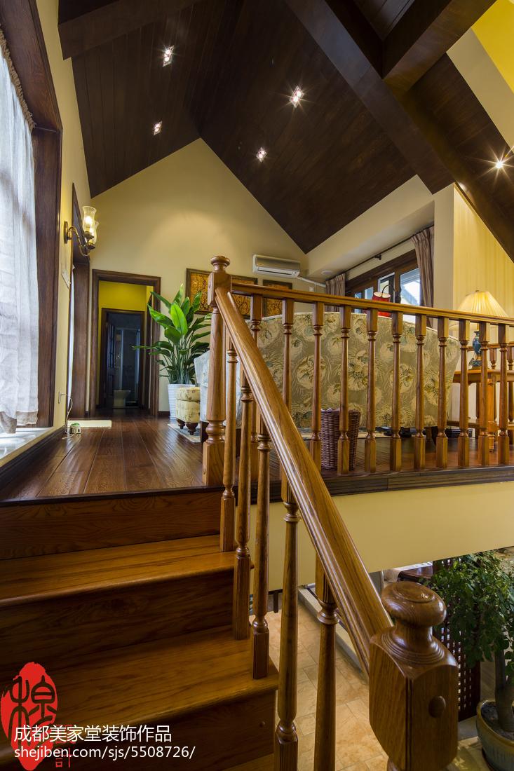 地中海风格别墅图片_美式风格别墅楼梯设计 – 设计本装修效果图