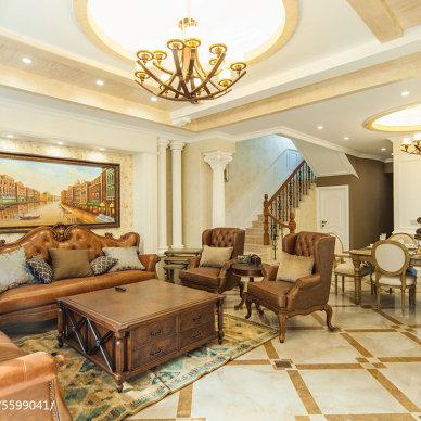 混搭风格别墅客厅设计效果图片