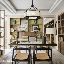 别墅中式书房博古架装修设计