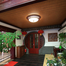 中式风格复式楼入户花园设计效果图