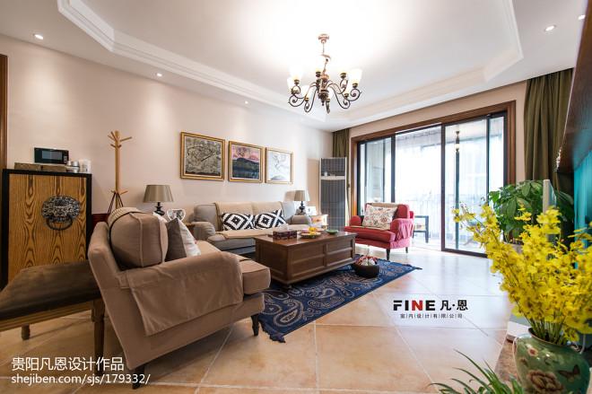 三居室美式客厅吊顶效果图
